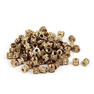 Uxcell a16041800ux0827 M3 x 5mm x 5.3mm Brass Cylindrical Knurled Threaded Insert Embedded Nuts by Uxcell