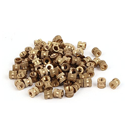 Uxcell a16041800ux0827 M3 x 5mm x 5.3mm Brass Cylindrical Knurled Threaded Insert Embedded Nuts 100PCS