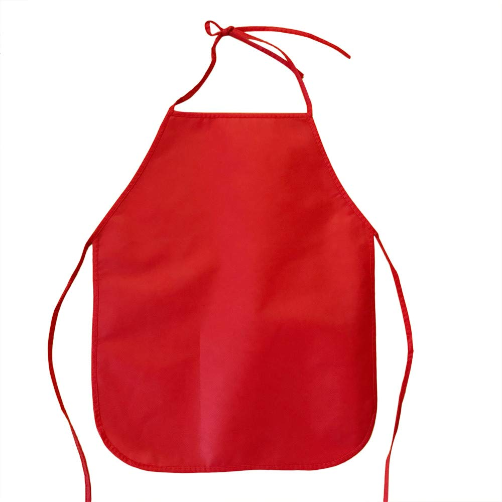 Weite Children's Artists Waterproof Polyester Small Apron - Preschool Kids Reusable Aprons for Painting Activity Kitchen Cooking and DIY Craft (Red)