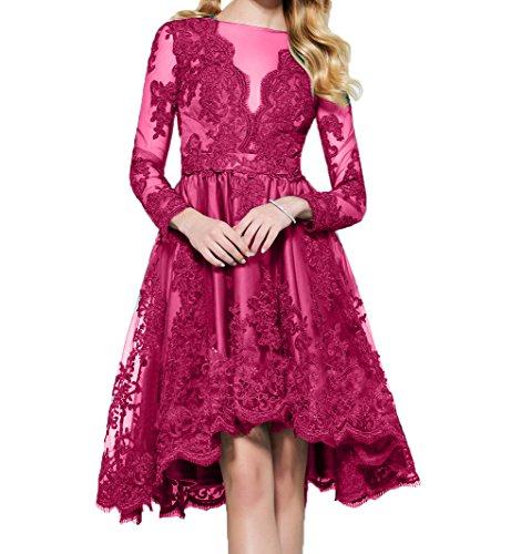 mit Hi Langarm A Promkleider Cocktailkleider Mini Linie Lo Partykleider Spitze Damen Charmant Knielang Abendkleider Pink 7xnZCO1qSE