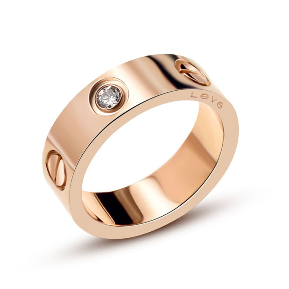 Qindishijia Love Ring With Stone-Rose Gold Lifetime Just Love You With (7)