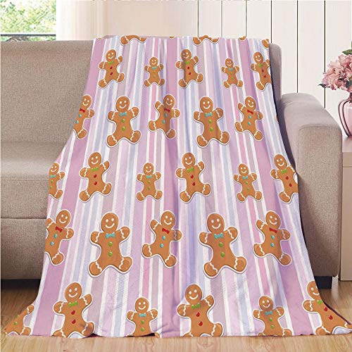 Blanket Comfort Warmth Soft Air Conditioning Easy Care Machine Wash House,Gingerbread Man,Kids Pattern with Pastel Colored Striped Backdrop Cute Bakery Xmas Goodies Decorative,Multicolor,47.25