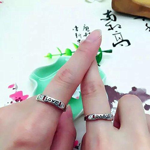 Erica 925 Sterling Silver Fashion Simple Love Zircon Couple Anneaux Taille Réglable Cadeau pour Girlfriend