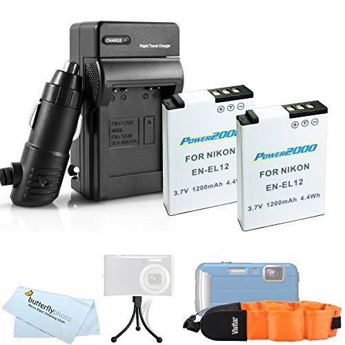 2 Pack Battery And Charger Kit For Nikon COOLPIX AW120, AW110, AW130, W300 Waterproof Digital Camera Includes 2 Extended Replacement (1200Mah) EN-EL12 Batteries + Ac/Dc Charger + FLOAT STRAP + More