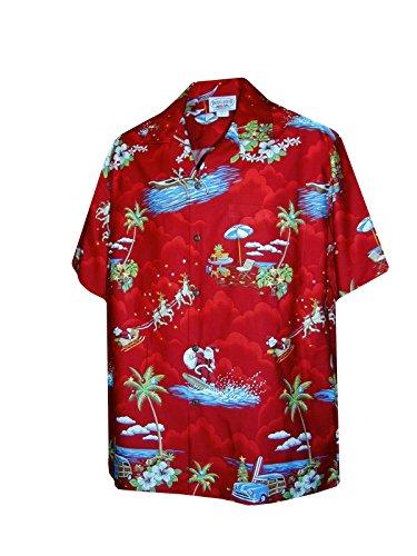 (Pacific Legend Mens Santa's Hawaiian Vacation Shirt in Red - XL)