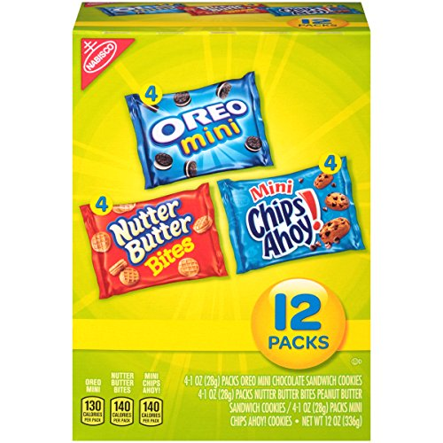 Mini Variety Pack (Chips Ahoy!, Nutter Butter, Mini Oreos), 12-Count Snak Paks (Pack of 2)