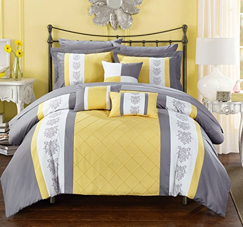 Chic Home Clayton 10 Piece Comforter Set Pintuck Pieced Bloc