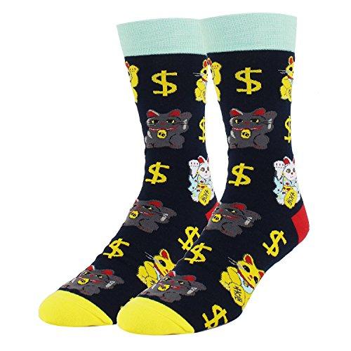 Men Maneki-neko Money Lucky Cat Novelty Crew Socks Lucy Happy Crazy Socks