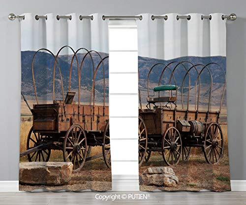 (Grommet Blackout Window Curtains Drapes [ Barn Wood Wagon Wheel,Vintage American Carriages Western Historical Transportation Prairie,Brown White ] for Living Room Bedroom Dorm Room Classroom Kitchen C)