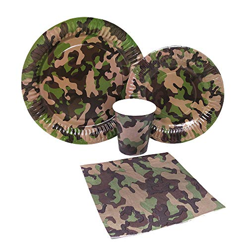 Blue Orchards Camo Party Standard Party Packs (65+ Pieces for 16 Guests!), Camo Party Tableware, Hunting Party Supplies