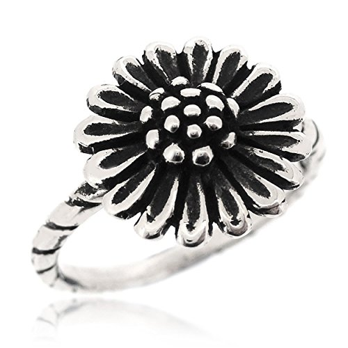 SOVATS Sunflower Antique Blossoming Style Ring For Women 925 Sterling Silver Oxidized Surface - Perfect For Nature Lover and Anniversary Gifts, Size 7