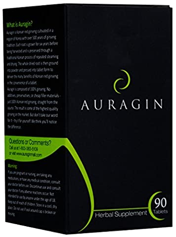 Auragin: Authentic Korean Red Ginseng – Made in Korea – 6 Year Roots, 8% Ginsenosides – No Additives or Other Ingredients – 100% Red Panax Ginseng in Every Tablet, 90 - Adrenal Boost