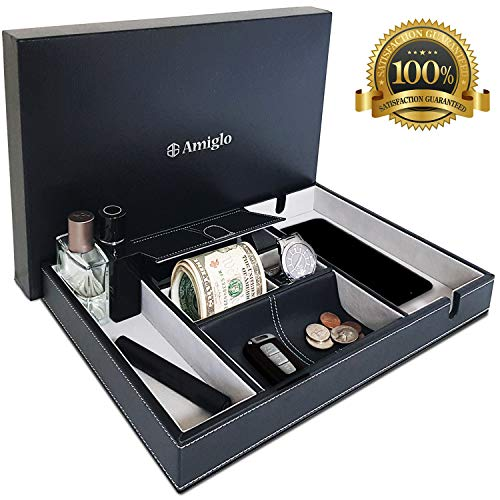Amiglo Valet Tray for Men | Phone Charging Station | EDC Table Desk Bedside Nightstand Organizer | Premium Quality | Large Capacity | Leather Valet Box for Watch, Money, Keys, Accessories, Wallet