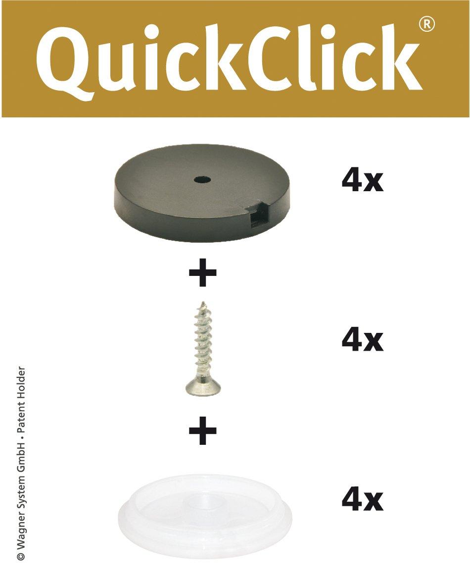 'Wagner QuickClick® Sedia gleiter//set da avvitare//arresto–Diametro 20mm–15804100 Wagner System GmbH
