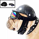 Misula Cute Dog Hat Helmet+Windproof Rainproof Aviator Sunglasses For Pet Cat Costume/Puppy Sport ABS Plastic Toy Helmet Cap Of Motorcycle Protect For Pet (L Size, Black)