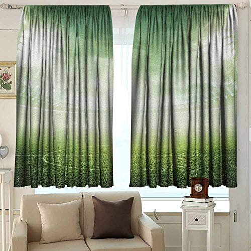 Balcony Curtains Soccer Illuminated Stadium at Night View Football Arena Activity Grass Playground Picture Print Darkening Thermal Insulated Blackout 63 W x 72 L InchesGreen