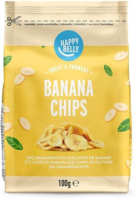 Marca Amazon - Happy Belly Chips de plátano, 7 x 100gr