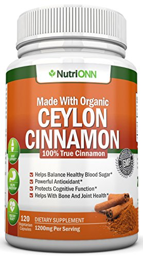 Organic Ceylon Cinnamon – 1200mg – 120 Capsules – True Cinnamon – Powerful Antioxidant – Helps Balance Blood Sugar – Has Anti-Microbial, Anti-Fungal, Immunity Boosting and Heart Protecting Abilities For Sale