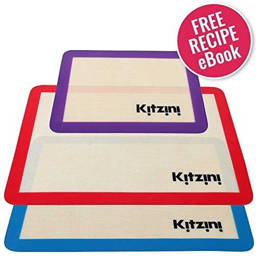 Silicone Baking Mat Set of 3 - Nonstick - Two Half Sheet Mats (16.5' x 11 5/8') & 1 Quarter Sheet Liner (11.5' x 8.5'). Professional Grade and BPA Free - Perfect for Cookies Macaroons and Pastry