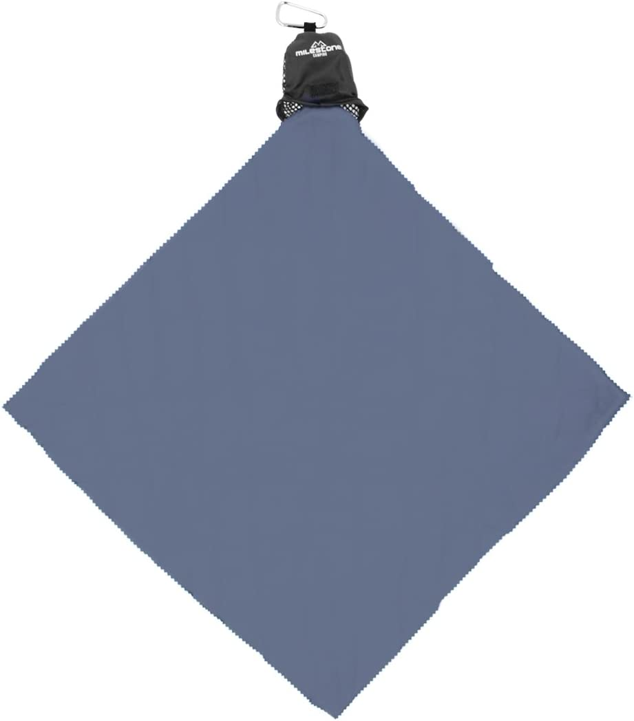 Milestone Camping Compact Microfiber Towel with Karabiner Charcoal