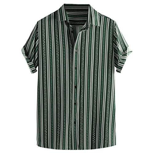 (iHPH7 Men's Button Down Short Sleeve Hawaiian Shirt Colorful Stripe Summer Short Sleeve Loose Buttons Casual Shirt Blouse (L,3- Green))