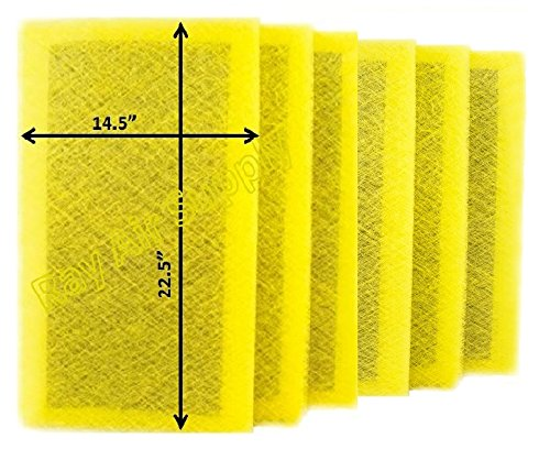 (RAYAIR SUPPLY 16x25 MicroPower Guard Air Cleaner Replacement Filter Pads (6 Pack) Yellow)