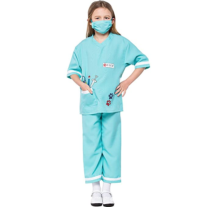 9409ba7d5cdb5 Children Halloween Doctor Dress up Surgeon Costume Set Kid Scrub's Play  Outfit (3-5