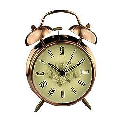 Jili Online 3 4 Vintage Double Twin Bell Alarm Clock, Pointer Quartz Analogue Movement Clock, Desk Top Table Bedside Alarm Clock w/Night Light - Vintage Roses, 4