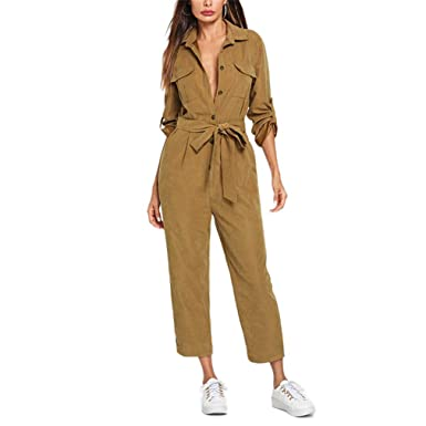 7c9a669a5550 Amazon.com  KECjmx Elegant Jumpsuit Roll Tab Sleeve Button Front Self  Belted Jumpsuit Women Clothes Mid Waist Autumn Jumpsuits  Clothing