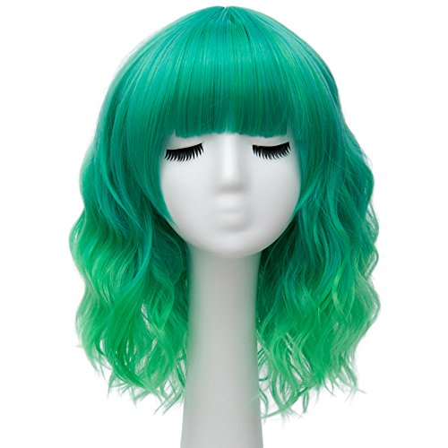 Alacos Fashion 35cm Short Curly Bob Anime Cosplay Wig Daily Party Christmas Halloween Synthetic Heat Resistant Wig for Women +Free Wig Cap (Green -