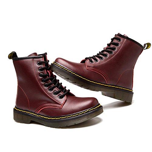 boots Cuir Impermeables Doublure Martin Botte classiques Plates bottines Ukstore Sans Lacets Bottes homme 2 rouge Femme Chaudes Chaussures Hiver Fourrées wvxTYq