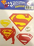 M&E Glitter Superman Decal, Sparkling Yellow and red Man of Steel Sticker for Bumper, Room Decoration, Laptop (4 on 1 Sheet)
