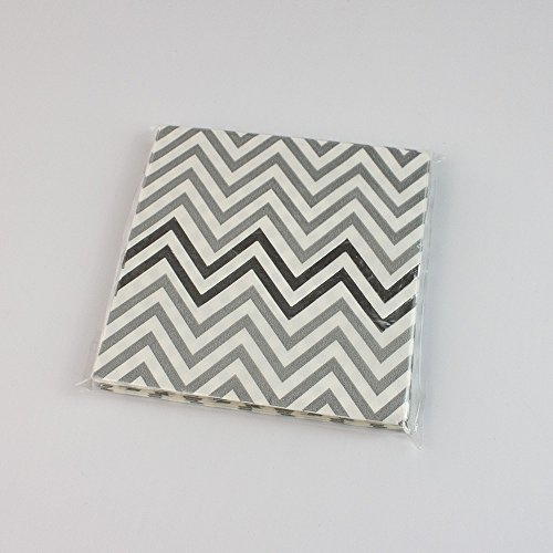 Youmewell Disposable Silver Gray Chevron Parper Napkins Grey Paper Party Napkins 100 Count (And Paper Chevron White Napkins Grey)