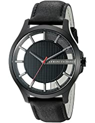 Armani Exchange Mens AX2180 Black  Leather Quartz Watch