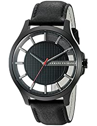 Armani Exchange Men's 'Smart' Quartz Stainless Steel and Leather Automatic Watch, Color:Black (Model: AX2180)