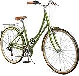 Retrospec Beaumont-7 Seven Speed Lady's Urban City Commuter Bike, Olive, 38cm/Small