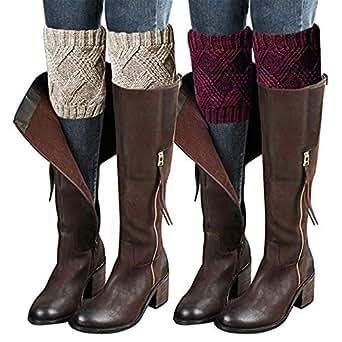 3PCs Fashion Women Winter Crochet Knitted Boot Cuffs Socks