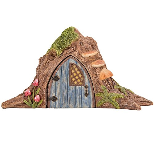 (Pacific Giftware Miniature Fairy Garden of Enchantment Fairy Tree Trunk Cottage with Door Figurine Display 4.75 Inches)