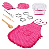 Kids Chef Set, 11Pcs Children Kitchen Cooking Role Play, Waterproof Baking Aprons and Chef Hat, Oven...