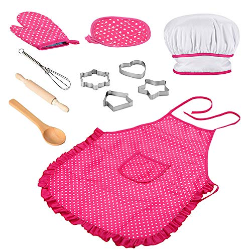 Kids Chef Set, 11Pcs Children Kitchen Cooking Role Play, Waterproof Baking Aprons and Chef Hat, Oven Glove, Eggbeater, Cookie Cutters for Ages 3+ Little Girl's Gift - Pink