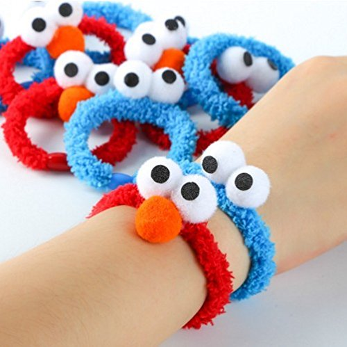 Sesame Street Elmo Korean cartoon girls hair accessories rubber band bracelet Tousheng for women girl lady]()