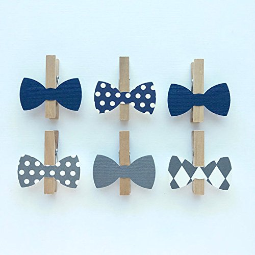 Sweet Thymes Bow Tie Clothespins Baby Shower Decoration Don't Say Baby Game Clips 12 Pins Navy Diaper Cake Wedding Party Favors Drink Marker Place -
