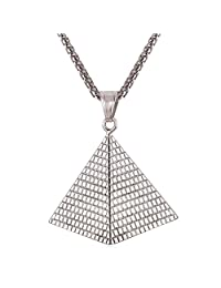 U7 Egyptian Pyramid Pendant Necklace with Wheat Chain Men Women Fashion Jewelry