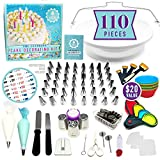 NEW!!! 110pc Ultimate Cake Decorating Supplies Kit, Baking Supplies,Rotating Cake Decorating Turntable,48 Piping Tips,3 Russian Tips,Piping Bags,Baking Supplies,Cupcake Kit,Icing Tips,Decorating Tools