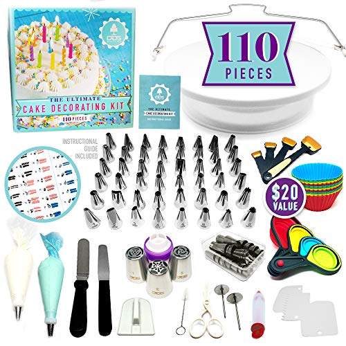NEW!!! 110pc Ultimate Cake Decorating Supplies Kit, Rotating Cake Decorating Turntable,48 Piping Tips, 3-Russian Nozzles, Piping Bags,Baking Supplies,Cupcake Decorating Kit,Icing Tips,Decorating Tools