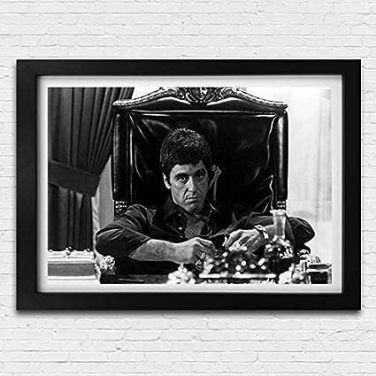 Scarface Tony Montana Movie Film Poster Black White Framed Print