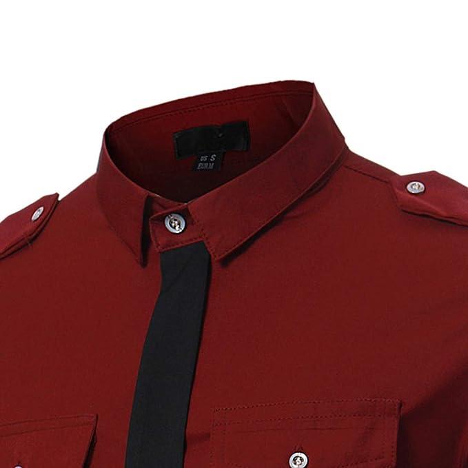 Susulv-MCL Camisa de los Hombres Personalidad Contraste de Color ...
