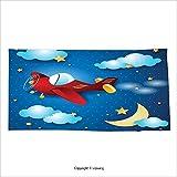 Vipsung Microfiber Ultra Soft Bath Towel Kids Decor Cute Retro Airplane Flying At Night Sky With Moon And Stars Artisan Cartoon Print Blue Red For Hotel Spa Beach Pool Bath