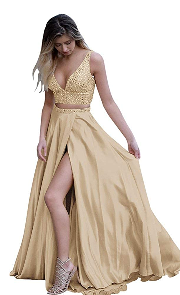 Champagne Fanciest Women's Two Pieces Beaded Prom Dresses Long Slit Formal Evening Party Dress