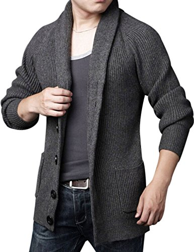 Yeokou Men's Casual Slim Thick Knitted Shawl Collar Cardigan Sweaters Pockets (Medium, Grey) (Wool Thick Sweater)